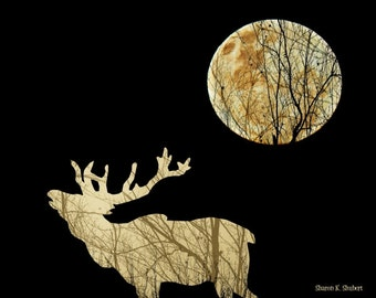 Bugling Elk Art, Southwestern Sepia Photomontage, Full Moon Silhouette, Woodland Animal, Home Decor, Wall Hanging, Giclee Print, 8 x 10