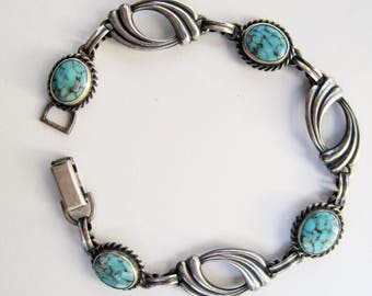 "Vintage Van Dell Sterling Silver and Turquoise Glass Stone Link Bracelet - 7 1/2""      2229"