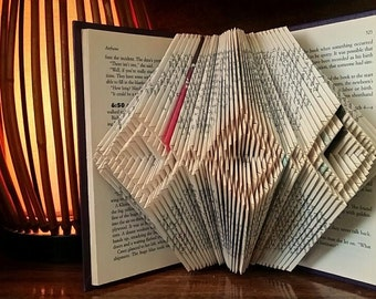 Folded book art, 3 diamonds design, recycled book sculpture