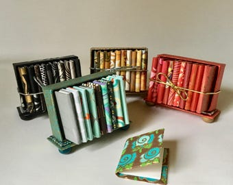 Set of Mini Journals with Bookcase for Gifts and Decor