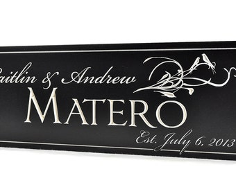 Personalized Family Name Sign Plaque Established 7x20 Carved Engraved Personalized