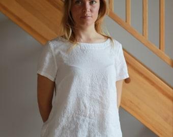 Linen women shirt Short sleeve top Linen women blouse Linen women top Round neckline shirt Linen T-shirt White Light Grey Pink Orange shirt