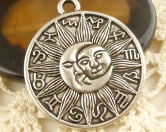 Sun and Moon, Zodiac Sign Charm Pendant, Antique Silver (2) - S151