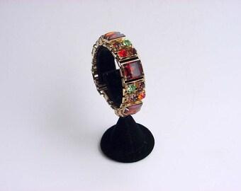 Designer Rhinestone Bracelet Vintage Symphony Sommers & Sherman Amber Topaz Linked Bangle Aqua Green Glass Crystal Cabochons Costume Jewelry