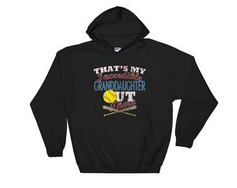 Softball Grandma Hoodie-Softball Grandpa Hoodie-Softball Grandparent-Softball Grandma Gift-Softball Grandpa Gift-Softball Hooded Sweatshirt