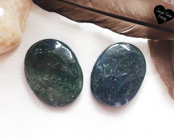Moss Agate Worry Stones   Moss Agate Palm Stones   Crystal Palm Stones   Crystal Worry Stones   Green Agate   Root Chakra Crystals