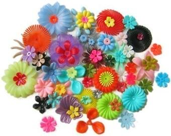 50 Piece SURPRISE Vintage Flower Bead Collection