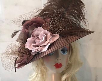 """SALE """"KAREN"""" Chocolate brown straw hat (reg 300)"""
