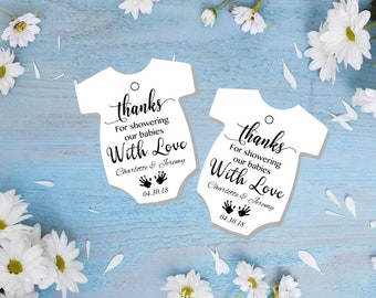 DIY Instant download onesie tags thank you for showering our baby twins babies baby shower tags shirt favor baby shower editable printable p
