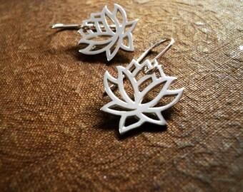 Blooming Lotus Flower Earrings in Sterling Silver