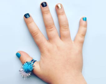 Blue Glitter Ring - Pom Pom Ring - Children's Jewelery - Party Bag Gift - Adjustable Ring - Girls Ring - Costume Ring Jewellery