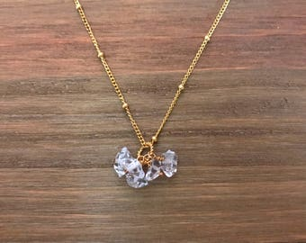 Herkimer Diamond Cluster Necklace ~ Gold Fill ~ Gemstone Necklace ~ Wedding Necklace ~ Bridal Necklace ~ Bridesmaid Necklace ~ Gift for Her