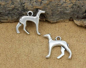 20pcs Dog Charms Antique Silver Whippet or Greyhound Charms Pendant 19x18mm C2226-Y