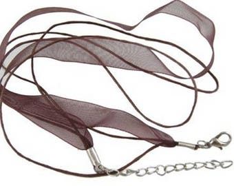 Set of 3 cords free shipping - 10 mm Brown organza Ribbon necklaces