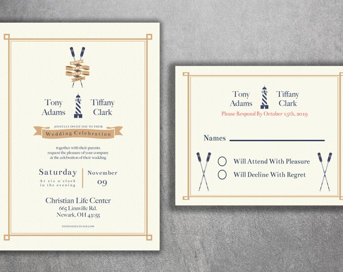 Light House Wedding Invitations Set, Nautical Wedding Invitations, Navy Wedding Invitation, Boat, Ocean, Sailboat, Oars, Rope, Anchor
