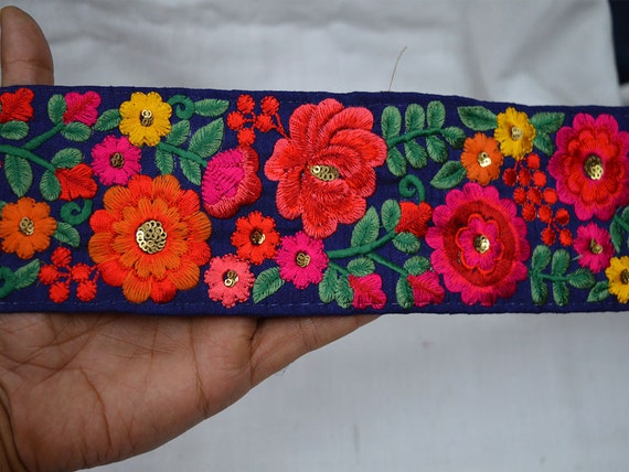 Silk embroidered ribbon trims decorative indian sari for Craft ribbons and trims