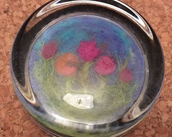 glass paperweight with needlefelted meadow flowers