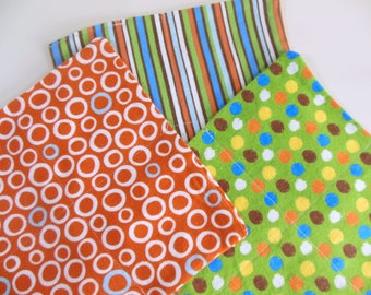 Cloth Wipes, Washcloths, Burp Cloths, Handkerchiefs in Stripes, Dots, & Circle Prints Set of 12