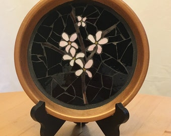 Stained Glass Mosaic Terra Cotta Pot Base Cherry Blossom with Branch