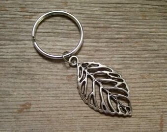 Silver Leaf Keychain, Antiqued Silver Cutout Leaf Key Ring, Nature Key Chain