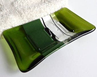 Fused Glass Soap Dish in Fern and Forest Green by BPRDesigns