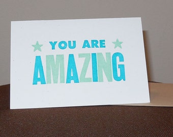 You Are Amazing Letterpress Card