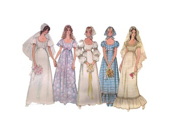 """Simplicity 9825, 70s sewing pattern, size 8 bust 31"""" women's wedding dress, lace wedding gown pattern, Venice lace"""
