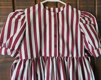 Girl's Dress Size 4 White & Maroon stripe of cotton upcycled linens
