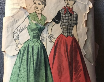 Vintage 40s Advance 6548 Dress or Separates Pattern-Size 16 (34-28-37)