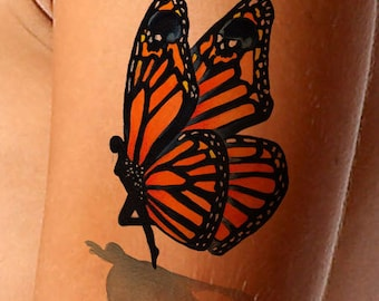 Fake Tattoo-Monarch Butterfly-Fairy-Skull-Realistic Tattoo-Gifts For Women