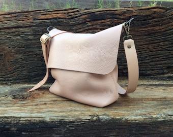 Shoulder full grain leather bag / Leather bag / Leather Crossbody bag / Pinkbag / Nude bag