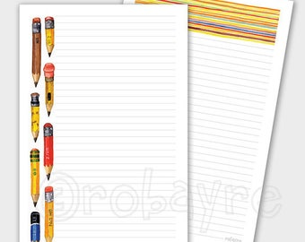 Printable Download Little Pencil Stationery lined note paper PDF for download watercolor