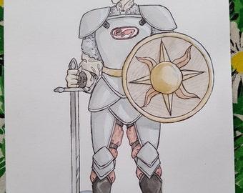 Jayoda in Armor - Character Design - Original Art Watercolor Sketch of Comic Illustration
