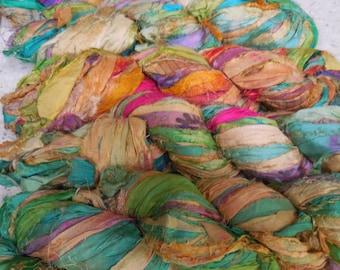 50 Yards,  Dancing Colors,  Sari Silk Ribbon, 100 grams,  Very Bohemian,  Don't buy this if