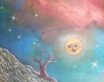 Art Print Moon Night-acrylic and chalk on canvas-fairy tale-moon-night-starry sky-surreal-universe-psychedelic