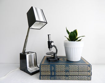 Vintage High Intensity Desk Lamp - Telescoping Black & Silver Work Light