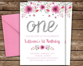 GIRLS FIRST BIRTHDAY Invitation Pink and Silver, Watercolor Floral 1st Birthday Invitation for Girl Pink and Silver, Printable Invitation
