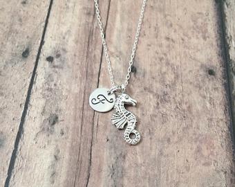 Seahorse initial necklace - seahorse jewelry, ocean necklace, beach jewelry, silver seahorse pendant, ocean jewelry, aquarium necklace