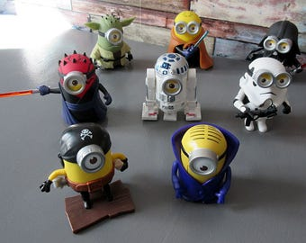 "Set of 8 6 ""Minion Star Wars"" figures and 2 ""Minion McDonald's"" Star Wars"
