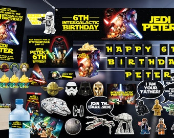 Lego Star Wars Jedi - Printable Birthday Party Pack -DIY- including Invitation, labels, streamer, signage, face masks, cutouts and much more