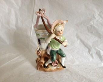 Royal Japan Hand Painted Porcelain Boy with Bucket Vase Figurine