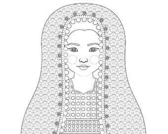 Afghan Girl Matryoshka Coloring Sheet Printable file
