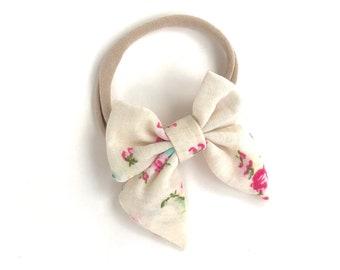 Floral baby headband - nylon headband, baby headband, baby girl headband, baby headband bows, newborn headband, baby bows, baby girl, bows
