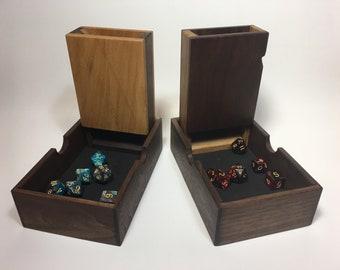 Handmade hardwood dice rolling tower