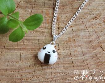 Necklace chain pendant onigiri (fimo) kawaii cute nigiri sushi asian japan polymer jewelry