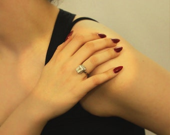 Gift Wrapped Box (Parcel) Ladies Ring, Adjustable, English Pewter, Handmade in Great Britain (m)
