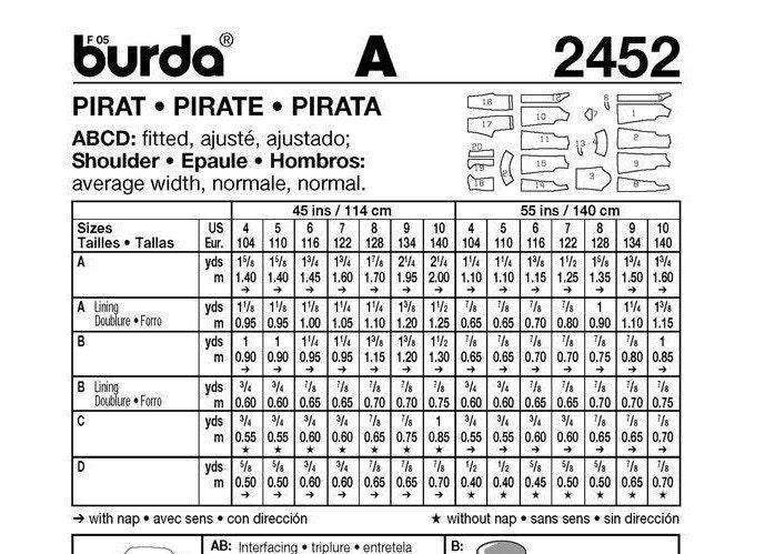 Los chicos piratas coser patrón - patrón de costura Burda 2452 ...