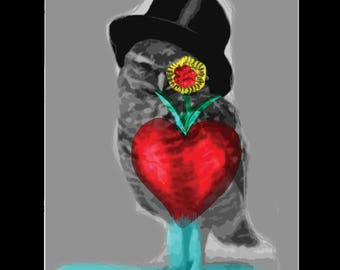 """Mister Holiday Owl (3.5""""x5.5"""" giclee print on 5""""x7"""" black matte)"""