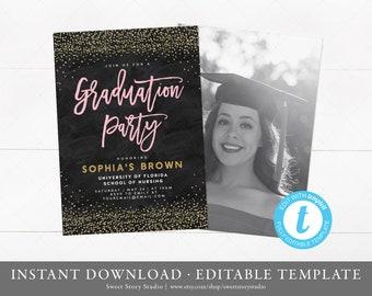 Graduation Party Invitation | Instant Download, Editable, Printable | RN, Nurse, LPN, Gold Glitter | DC044