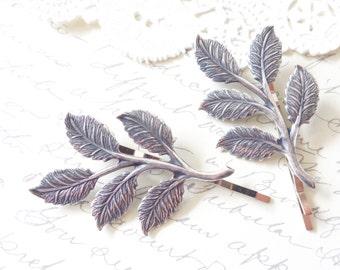 Sterling Silver Plated Leaf Branch Bobby Pin Set - Woodland Leaf Hair Pins - Wedding Leaf Branch Hair Accessory - Bridal Hair Pins